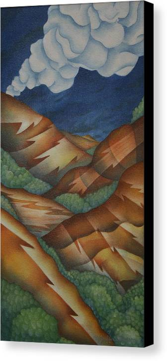 Mountains Canvas Print featuring the painting Time To Seek Shelter by Jeniffer Stapher-Thomas