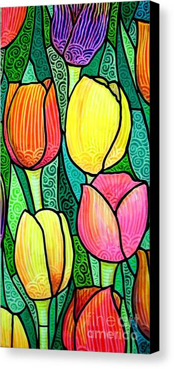 Tulips Canvas Print featuring the painting Tulip Expo by Jim Harris