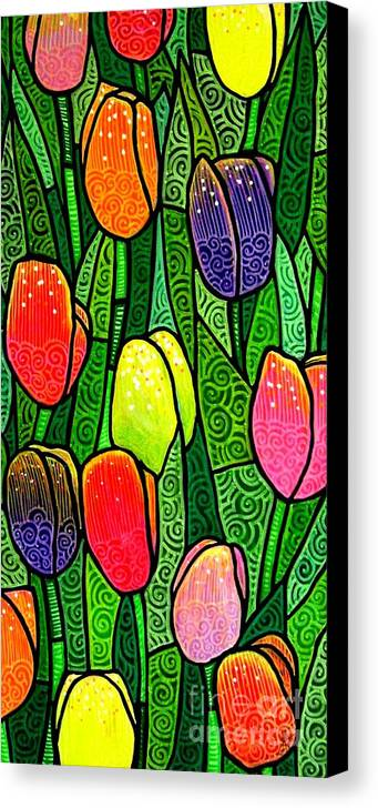 Tulips Canvas Print featuring the painting Tulip Glory by Jim Harris