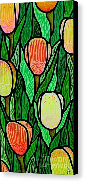 Tulips Canvas Print featuring the painting Tulip Joy 2 by Jim Harris