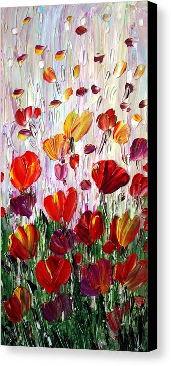 Flowers Canvas Print featuring the painting Tulips Flowers Garden Seria by Luiza Vizoli