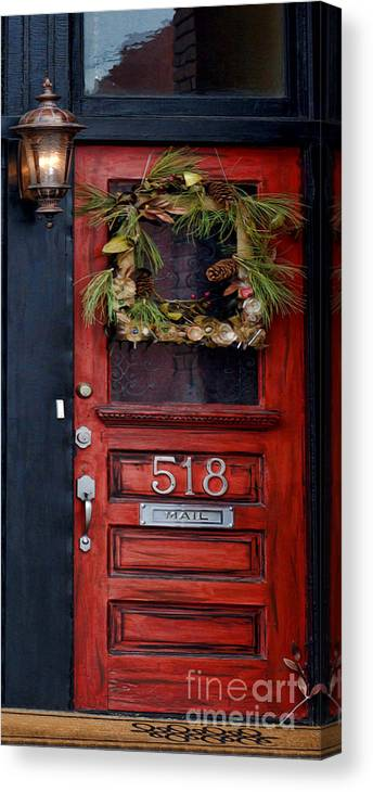 Red Door Canvas Print featuring the photograph Red Door by Liane Wright
