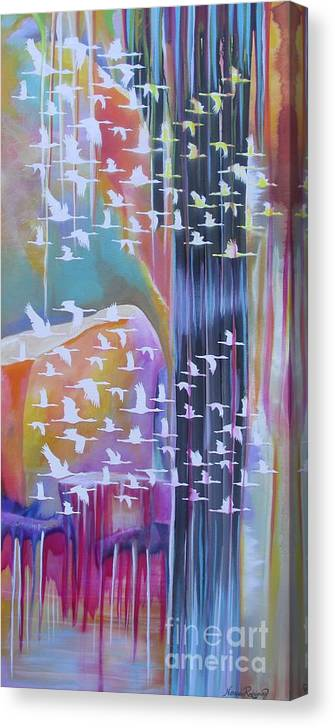 Cranes Canvas Print featuring the painting Flock Of Cranes by Nereida Rodriguez