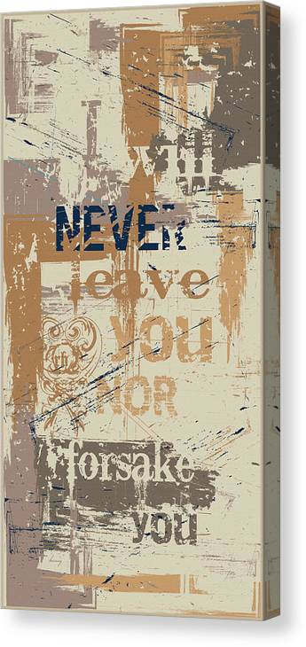 Verse. Bible Canvas Print featuring the digital art I Will Never by Brenny Moore