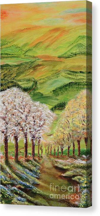 Searching For The Meaning Of Life Canvas Print featuring the painting On The Enchanted Path by Regina Wirsich Roberts