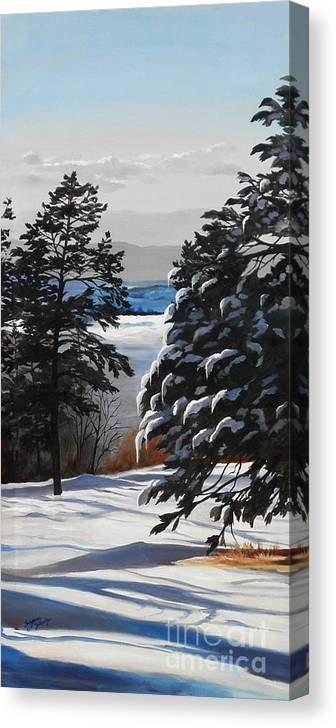 Winter Scene Canvas Print featuring the painting Winter Serenity by Suzanne Schaefer