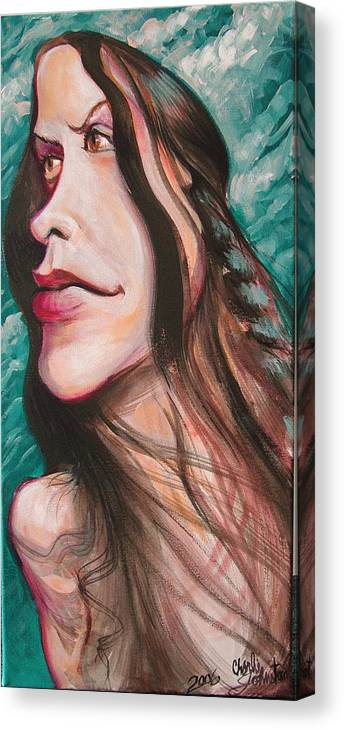 Portrait Canvas Print featuring the painting Alanis Morissette by Charles Johnston