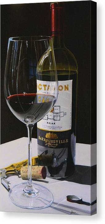 Wine Art Canvas Print featuring the painting Finest Hour by Brien Cole
