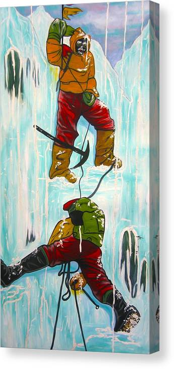 Abstract Sports Canvas Print featuring the painting Ice Climbers by V Boge