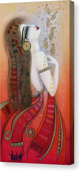 Red Canvas Print featuring the painting My Soul Is A Moan... by Albena Vatcheva