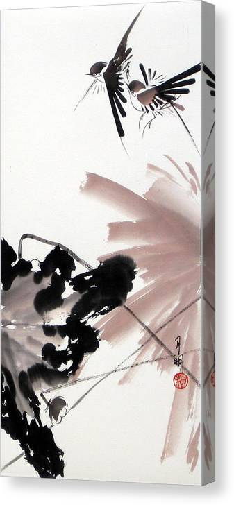 Lily Pond Canvas Print featuring the painting Nesting From Dawn To Dusk by Ming Yeung