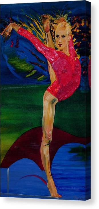 Olympic Gymnast Photo Canvas Print featuring the painting Olympic Gymnast Nastia Liukin by Gregory Allen Page