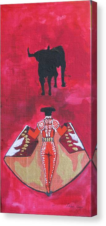 Spanish Art Canvas Print featuring the painting The Bull Fight No.1 by Patricia Arroyo