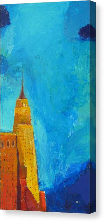 Abstract Cityscape Canvas Print featuring the painting The Empire State by Habib Ayat
