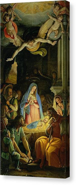 Christmas Canvas Print featuring the painting The Adoration Of The Shepherds by Federico Zuccaro