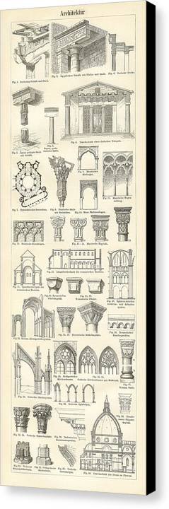 Architecture Canvas Print featuring the drawing Baustile I And Baustile II by German School
