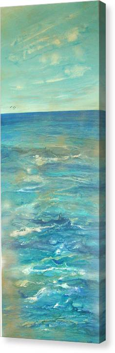 Contemporary Sea Canvas Print featuring the painting Mer Douce De L by Annie Rioux