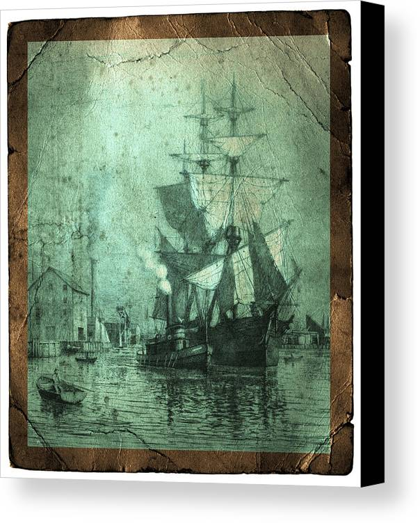 Schooner Canvas Print featuring the photograph Grungy Historic Seaport Schooner by John Stephens