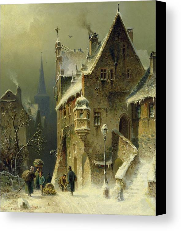 Schlieker Canvas Print featuring the painting A Small Town In The Rhine by August Schlieker