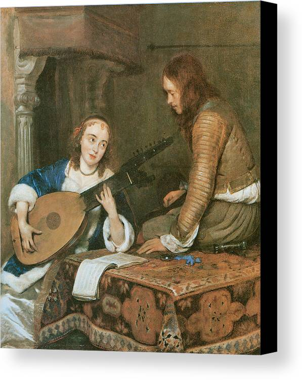 Gerard Terborch Canvas Print featuring the painting A Woman Playing The Theorbo-lute And A Cavalier by Gerard Terborch