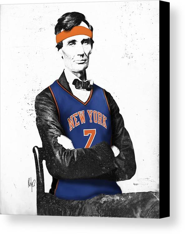 Abe Lincoln Drawings Canvas Print featuring the digital art Abe Lincoln In A Carmelo Anthony New York Knicks Jersey by Roly Orihuela