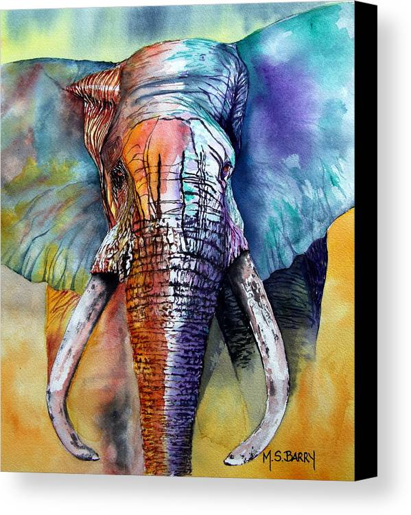 Elephant Canvas Print featuring the painting Alpha by Maria Barry