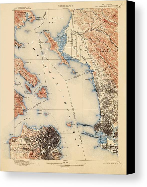 Antique Map Of San Francisco And The Bay Area - Usgs Topographic Map ...