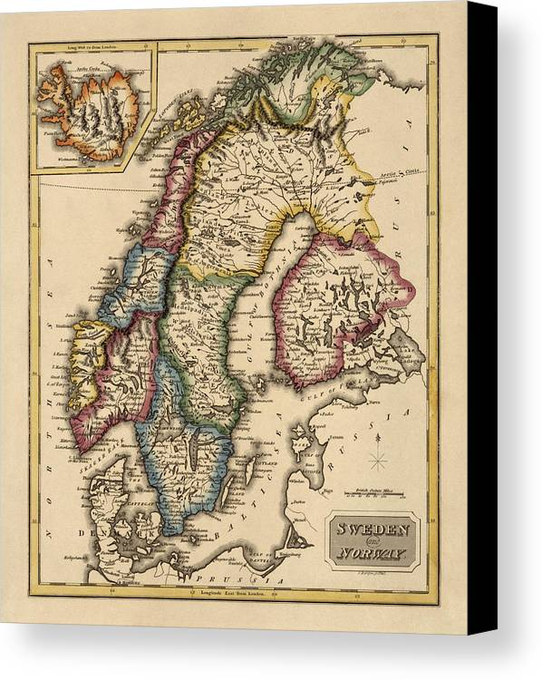 Norway Canvas Print featuring the drawing Antique Map Of Scandinavia By Fielding Lucas - Circa 1817 by Blue Monocle