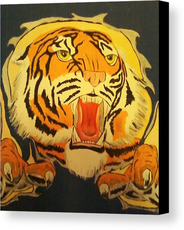 Tiger Canvas Print featuring the painting Auburn Tiger by Dominic Whatley