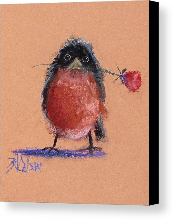 Baby Robin Canvas Print featuring the painting Be Mine by Billie Colson