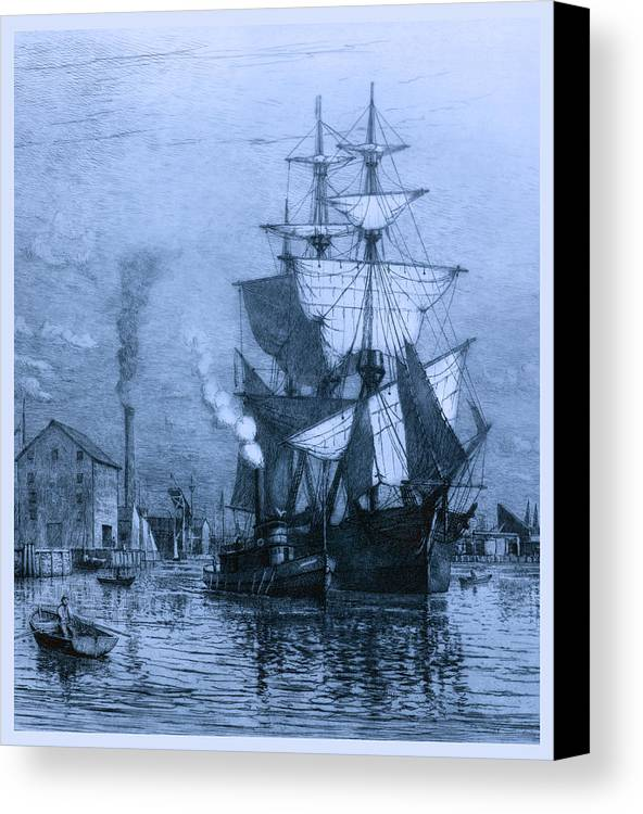 Schooner Canvas Print featuring the photograph Historic Seaport Blue Schooner by John Stephens