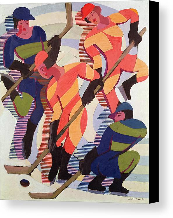 Sport Canvas Print featuring the painting Hockey Players by Ernst Ludwig Kirchner