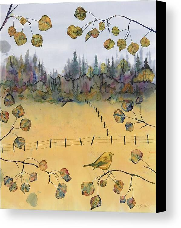 Bird Canvas Print featuring the tapestry - textile Little Bird And Fence by Carolyn Doe