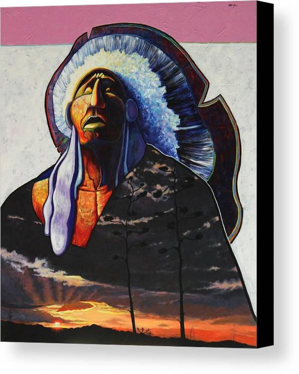 Native American Canvas Print featuring the painting Make Me Worthy by Joe Triano