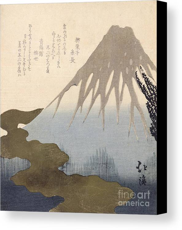 Mountain Canvas Print featuring the painting Mount Fuji Under The Snow by Toyota Hokkei
