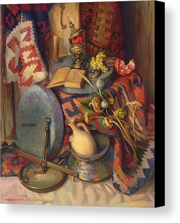 Still-life Canvas Print featuring the painting Still Life With Special Stones For Getting Wheat Flour by Meruzhan Khachatryan