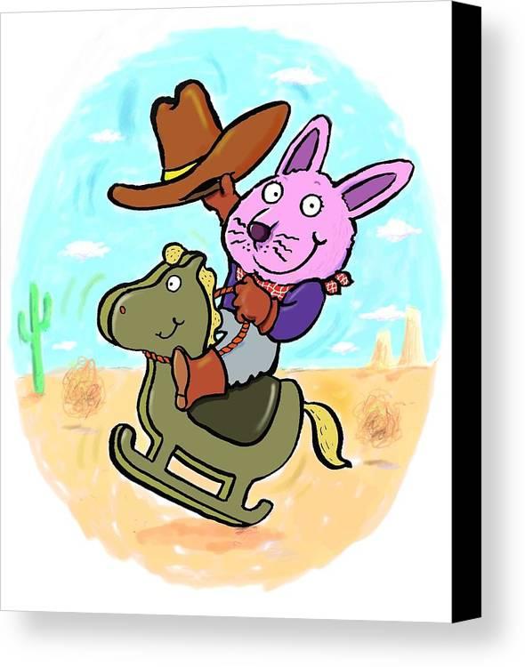 Scott Nelson Canvas Print featuring the digital art Bunny Cowboy by Scott Nelson