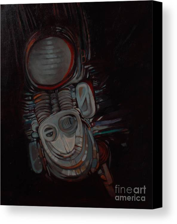 Something Canvas Print featuring the painting Something by Mohamed Fadul