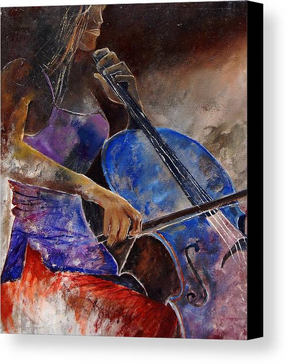 Music Canvas Print featuring the painting Cello Player by Pol Ledent