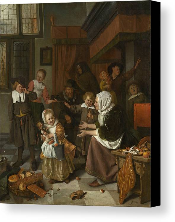Baroque Canvas Print featuring the painting The Feast Of St. Nicholas by Jan Steen