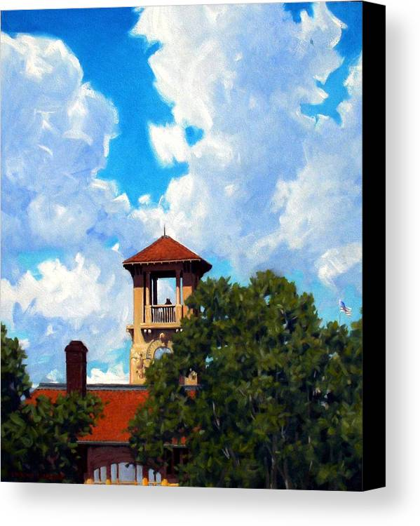 Sky Canvas Print featuring the painting Bell Tower by Kevin Lawrence Leveque