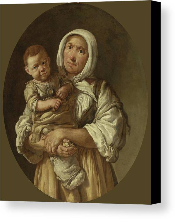 Giacomo Ceruti Canvas Print featuring the painting A Peasant Mother With Her Child In Her Arms by Giacomo Ceruti
