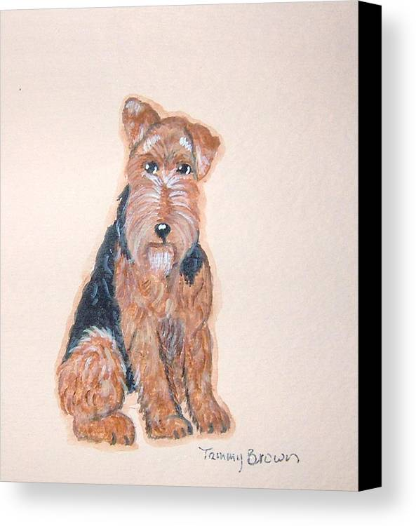 Airedale Terrier Canvas Print featuring the painting Airedale Terrier by Tammy Brown