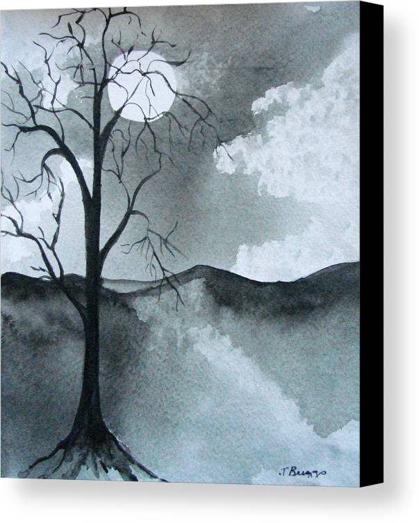 Tree Canvas Print featuring the painting Bare Tree In Moonlight by Dottie Briggs