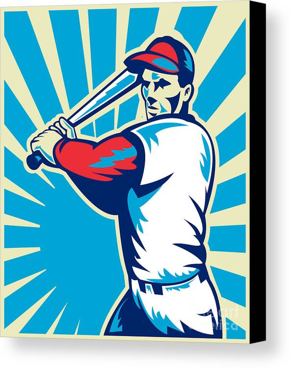 Baseball Canvas Print featuring the digital art Baseball Player Batting Retro by Aloysius Patrimonio