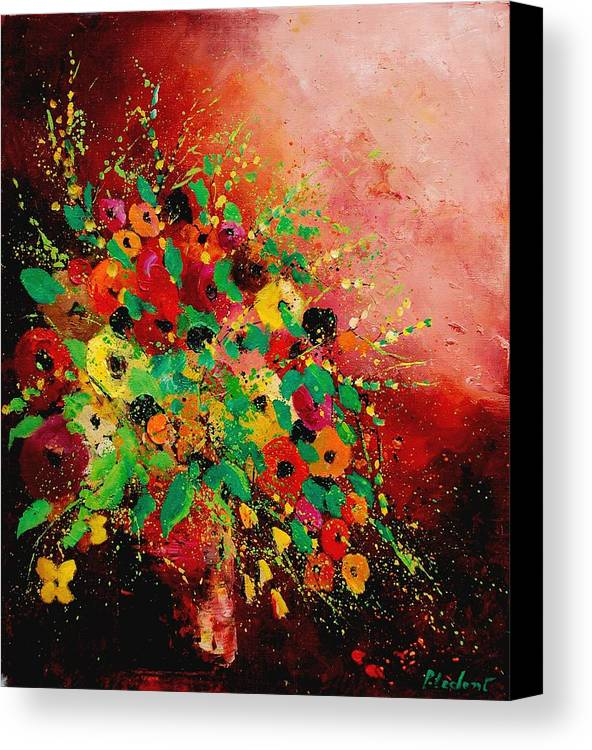 Flowers Canvas Print featuring the painting Bunch Of Flowers 0507 by Pol Ledent