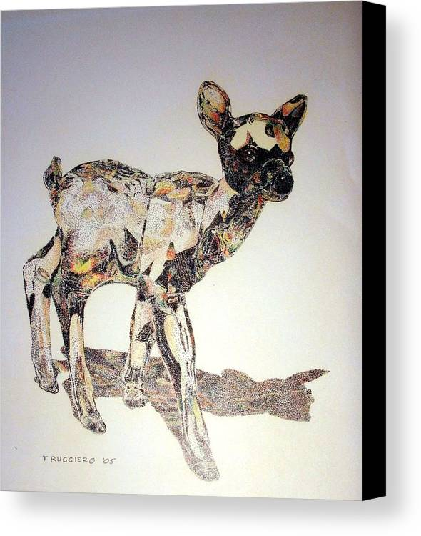Deer Fawn Crystal Figurine Swarovsky Canvas Print featuring the painting Crystal by Tony Ruggiero