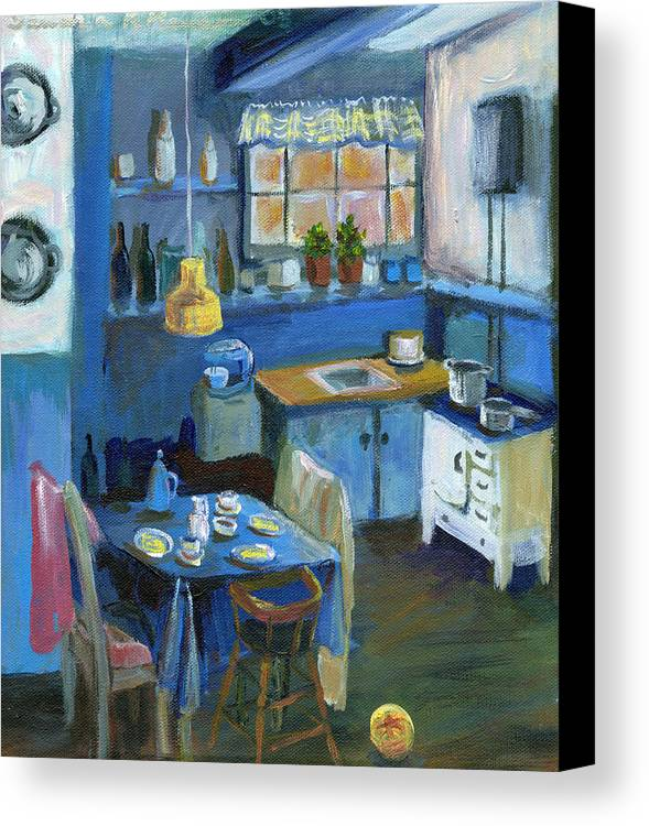 Denmark Canvas Print featuring the painting Danish Kitchen by Art Nomad Sandra Hansen