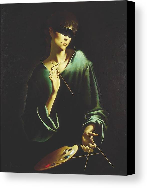 Figures Canvas Print featuring the painting Depression by Andrej Vystropov