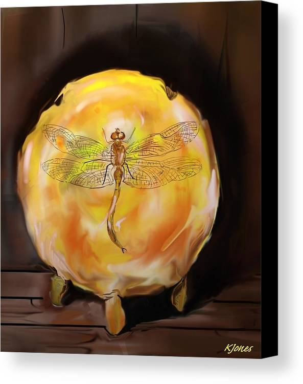 Dragonfly Canvas Print featuring the digital art Dragonfly In Amber by Kari Jones